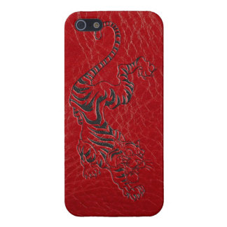 Red Leather Tiger iPhone SE/5/5s Case