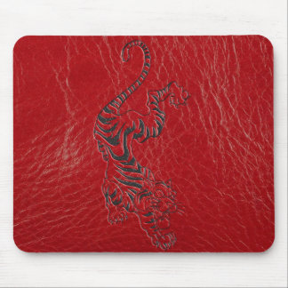 Red Leather Tiger Mouse Pad