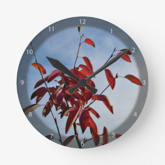 Red Leaves Against Blue Sky Round Clock