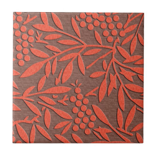 Red leaves and berries japanese pattern ceramic tile