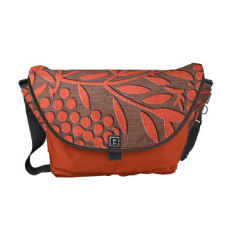 Red leaves and berries japanese pattern courier bags