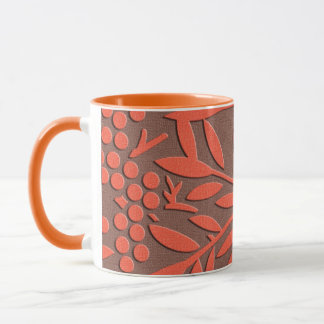 Red leaves and berries japanese pattern mug