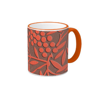 Red leaves and berries japanese pattern ringer mug