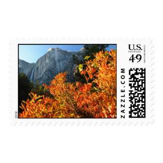 red leaves and fall postage