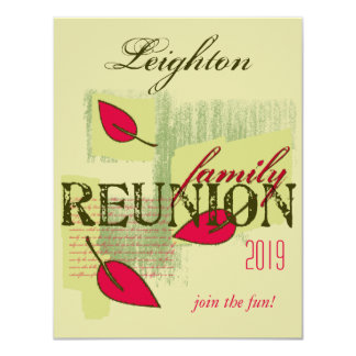 Red Leaves Family Reunion 4.25x5.5 Paper Invitation Card