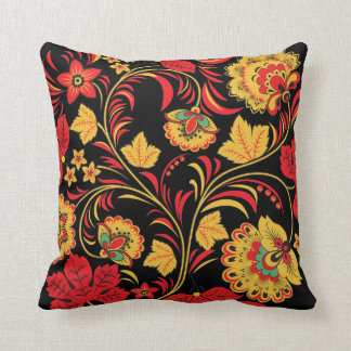 Red Leaves Khokhloma Throw Pillow