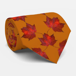 Red Leaves Orange Autumn Tie