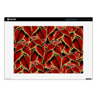 """Red Leaves Pattern On Black Decals For 15"""" Laptops"""