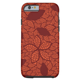 Red leaves pattern on orange iPhone 6 case