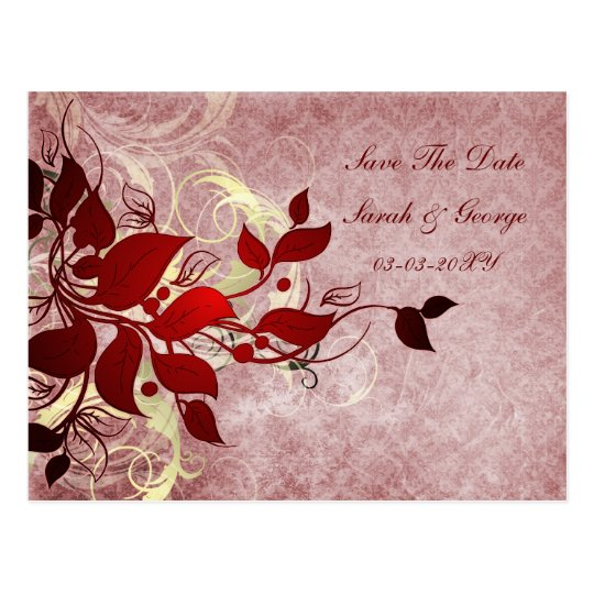 red leaves save the date postcard