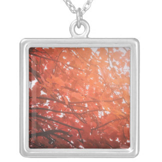 Red Leaves Square Pendant Necklace