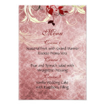 red leaves winter wedding menu card