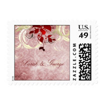 red leaves winter wedding stamps