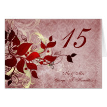 red leaves winter wedding table seating card