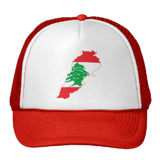 RED Lebanon Flag Map Hat