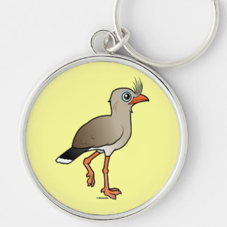 Red-legged Seriema Silver-Colored Round Keychain