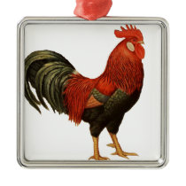 Red Leghorn Rooster Metal Ornament