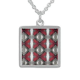 Red Lens Pattern Square Pendant Necklace