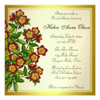 Red Lenten Rose Hellebore Floral Bridal Shower Personalized Invite