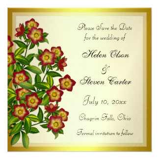Red Lenten Rose Hellebore Floral Save the Date Announcement