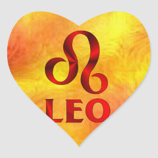 Red Leo Horoscope Symbol Heart Sticker
