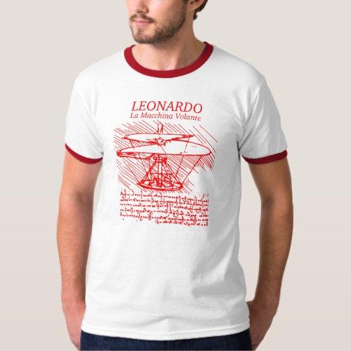 Red Leonardo da Vinci Helicopter T_Shirt