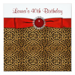 Red Leopard 40th Birthday Party Invitation