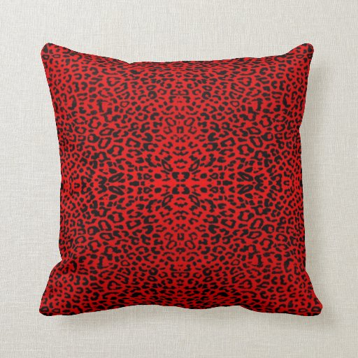Red Leopard Abstract Throw Pillow Zazzle