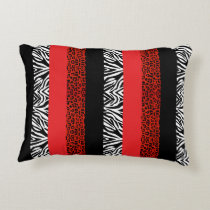 Red Leopard and Zebra Custom Animal Print Accent Pillow