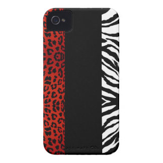 Red Leopard and Zebra Custom Animal Print iPhone 4 Case