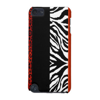 Red Leopard and Zebra Custom Animal Print iPod Touch (5th Generation) Case