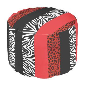 Red Leopard and Zebra Custom Animal Print Pouf