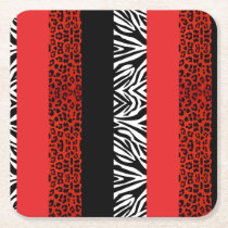 Red Leopard and Zebra Custom Animal Print Square Paper Coaster