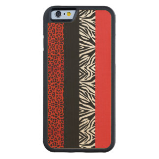 Red Leopard and Zebra Custom Animal Print Carved® Maple iPhone 6 Bumper