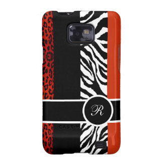 Red Leopard and Zebra Monogram Animal Print Samsung Galaxy SII Cover