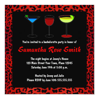 Red Leopard Animal Print Bachelorette Party Invite