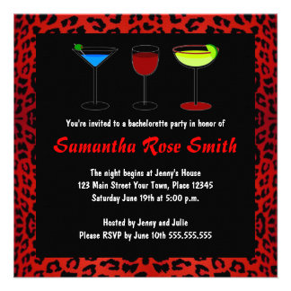 Red Leopard Animal Print Bachelorette Party Invite