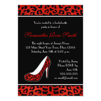 Red Leopard Animal Print Heel Bachelorette Party Card