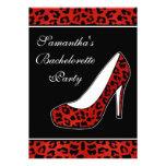 Red Leopard Animal Print Heel Bachelorette Party Custom Invitations