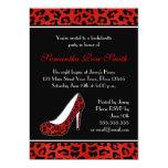 "Red Leopard Animal Print Heel Bachelorette Party 5"" X 7"" Invitation Card"