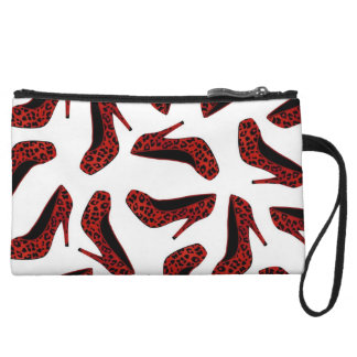Red Leopard Animal Print High Heel Shoes Print Wristlet