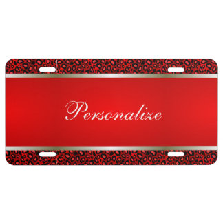 Red Leopard Animal Print | Personalize License Plate
