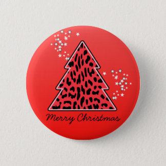 Red Leopard Cheetah Christmas Tree Button