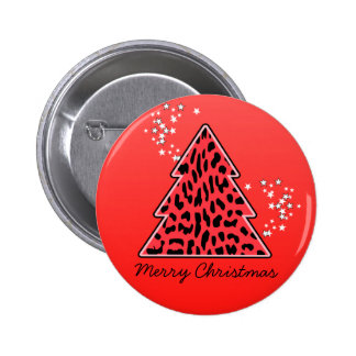Red Leopard Cheetah Christmas Tree Pinback Button