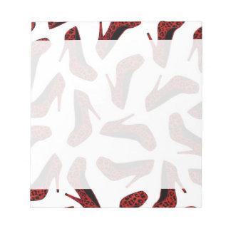 Red Leopard High Heels Print Notepad