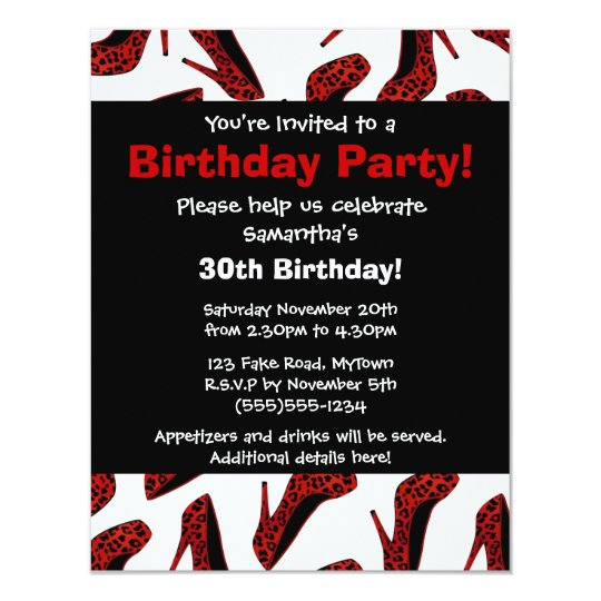 Red Leopard High Heels Print Party Invitation