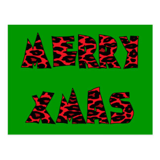 Red Leopard Merry Xmas Postcard