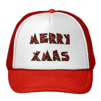 Red Leopard Merry Xmas Trucker Hat