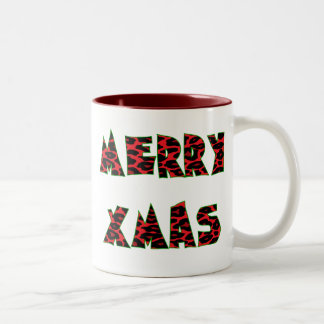 Red Leopard Merry Xmas Two-Tone Coffee Mug