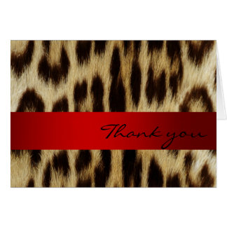 Red Leopard Monogram Stripes Thank You Note Cards